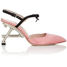 Miu Miu Women's Structured-Heel Satin Ankle-Strap Pumps ($699) ❤ liked on Polyvore featuring shoes, pumps, pink, pink high heel shoes, polish shoes, pink pointy toe pumps, pointed toe shoes and pointy toe shoes