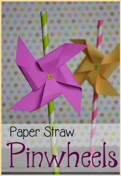 Create these super easy and super cute paper pinwheels to decorate straws for a party! Can also be used for centerpieces, garland, or other party decor. Spring Activities, Craft Activities For Kids, Crafts For Kids, Toddler Crafts, Paper Pinwheels, Paper Straws, Quick Crafts, Diy Crafts, Simple Crafts