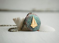 SAILING Locket Vintage Style Pendant Rustic by redtruckdesigns, $40.00