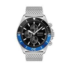 Boss Boss Ocean Edition Black And Blue Detail Chronograph Dial Stainless Steel Mesh Strap Mens Watch - One Colour - Hugo Boss Watches, Watches For Men, Athleisure, Montres Hugo Boss, Watch One, Boss Black, Stainless Steel Mesh, Bracelet Watch, Silver