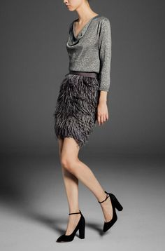 Feather skirt | Special events Lookbook: Massimo Dutti