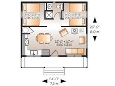 Floor Plan Design 027H-0154 480 sq. ft. 24 ft. 0 in.   Depth 20 ft. 0 in.   Approx. Height 13 ft. 9 in.   Ceiling Heights   First Floor 8 ft. 0 in.