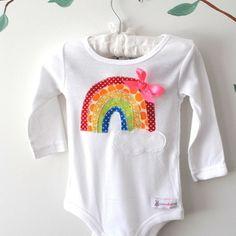 Rainbow Handmade Baby Onesie by Bubby Makes Three