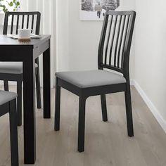 EKEDALEN Stolička, čierna, Orrsta svetlosivá - IKEA