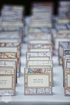 "vintage map place cards for ""Home is Where the Heart Is"" wedding theme - custom created by 0namesleft vendor on Etsy"