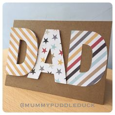 Handmade papercut card  DAD  Father's day or by mummypuddleduck