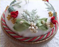 Mistletoe and holly pin cushion kit – French Needlework Kits, Cross Stitch, Embroidery, Sophie Digard – The French Needle