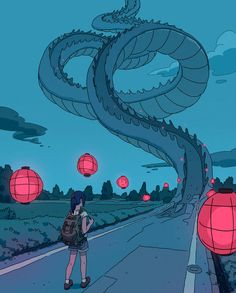 Illustration: Varguy - a pinch of Studio Ghibli - . - Illustration: Varguy – a pinch of Studio Ghibli – - Art Inspo, Kunst Inspo, Inspiration Art, Art And Illustration, Landscape Illustration, Art Illustrations, Art Anime, Anime Kunst, Anime Artwork