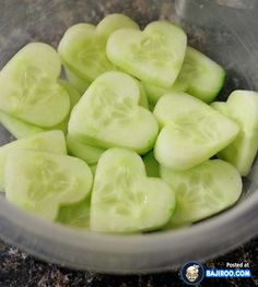 Healthy Way to Express Your Love Use a mini-heart cookie cutter with sliced cucumbers.....Could also be shamrock (for St. Patrick's Day)!!!