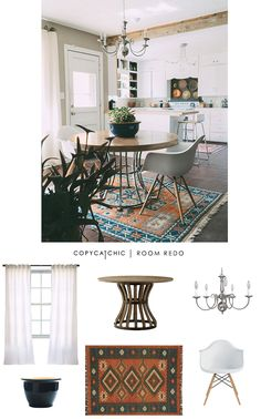 A Boho Chic eat in kitchen dining area featured on Design Sponge and recreated for only $1000 by @audreycdyer
