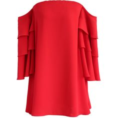Chicwish Sassy Flame Off-Shoulder Dress with Tiered Flare Sleeves (225 RON) ❤ liked on Polyvore featuring dresses, red, off shoulder bell sleeve dress, flared sleeve dress, tiered dresses, red tiered dress and lining dress