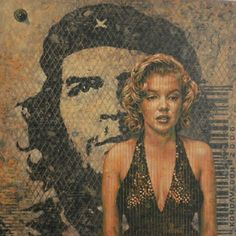 """This acrylic painting by Adrian Rumbaut shines a spotlight on the icons Marilyn Monroe (1926-1962) and Ernesto """"Che"""" Guevara (1928-1967)."""