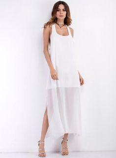 #BFCM #CyberMonday #Oasap.com - #Roawe Women's Solid Scoop Neck Backless Sleeveless Dress - AdoreWe.com