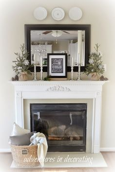 Love the basket with blanket in front of the fireplace--Great textures