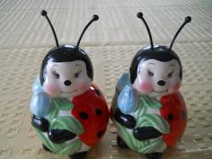 Lady Bug Salt and Pepper Shakers  Vintage by DEWshophere on Etsy, $10.99