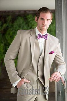 bb7e7a79b3e1 Gentleman Style Beige Mens Wedding Suits Tuxedos Notched Lapel Mens Suits  Two Buttons Groomsmen Suits (jacket+pants+vest)