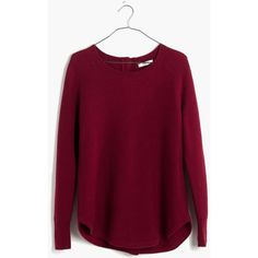 MADEWELL Button-Back Sweater ($40) ❤ liked on Polyvore featuring tops, sweaters, sweatshirts, dusty burgundy, button down shirts, purple button up shirt, burgundy shirt, burgundy button up shirt and purple sweaters