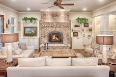 30 Stunning Living Room Design With Farmhouse Style. Stunning Living Room Design With Farmhouse Style An open family room and kitchen where the family eats is designed in charming farmhouse style which makes it a […] Farmhouse Decor Living Room, Home Living Room, Farm House Living Room, Home, Room Remodeling, House Interior, Farmhouse Style House Plans, Living Decor, Home And Living