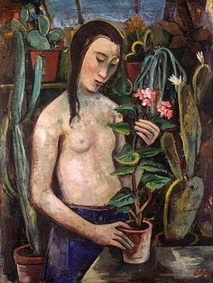 Hofer, Carl (1878-1955) - 1921-22 Girl with Cactus (Christie's London, 1998) -