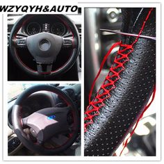 Car Styling Black DIY Car Steering Wheel Cover With Needles and Thread Genuine Artificial leather Car-Styling Accessories Car Accessories For Girls, Interior Accessories, Leather Accessories, Fashion Accessories, Auto Accessories, Car Steering Wheel Cover, Diy Car, Artificial Leather, Needle And Thread