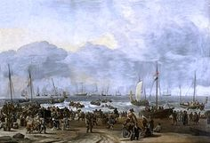 """Ludolf Bakhuizen (1631-1708).  """"The Landing of William of Orange at Scheveningen"""". Waarschijnlijk verwijst het naar het bezoek van stadhouder en koning Willem III aan Den Haag bracht in 1691."""