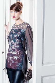 Ymocion design — If you want to be remembered, be unforgettable,. Vintage Flower Prints, Vintage Flowers, Elle Fashion, Tunics, Blouse, Long Sleeve, Sleeves, Fashion Design, Tops
