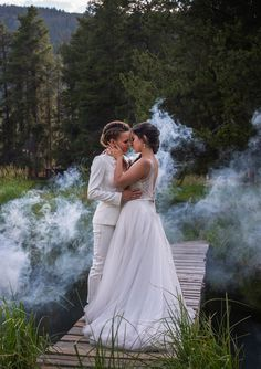Same sex wedding inspiration at Arapahoe Valley Ranch, Granby Colorado. Amy Merritt Hair Makeup with CakeKnife Photography Lesbian Wedding Photos, Wedding Couple Photos, Cute Lesbian Couples, Wedding Couples, Wedding Pictures, Lgbt Wedding, Muslim Couples, Granby Colorado, Wedding Hair And Makeup