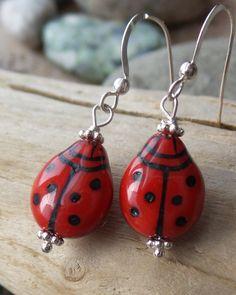 Lady Bug Earring, Sterling Silver European Glass Red Lady Bug Dangle Earrings, Red Earrings, Inspirational Jewellery, Vegan by WaterRhythmGems on Etsy