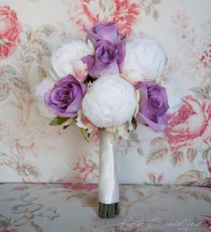 Handmade Spark - KateSaidYes - Ivory and Lavender Wedding Bouquet - Ivory Peony and Lavender Rose Wedding Bouquet