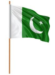 3d Flag Of Pakistan With Fabric Surface Texture White Background Pakistan Flag Pakistani Flag Flag Background
