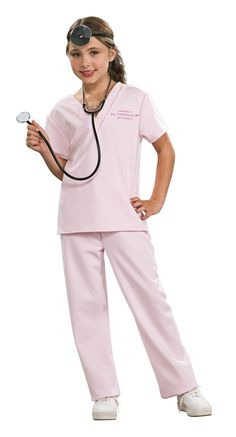 "Girls Veterinarian Costume - This is a medical vet costume. Being a veterinarian and caring for animals is a very respectable job. This is a two piece costume with a pair of pink scrubs. The shirt has a v-neck and short sleeves. On the left side of the shirt is pink lettering which reads: ""PROPERTY OF THE CRITTER CLINIC DO NOT REMOVE"". The pants match the shirt and are long. The sizing of the pants is adjustable with an elastic waist. #vet #girls #uniform #calgary #yyc #children #costume…"