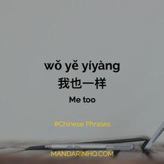 我也一样 wǒ yě yíyàng