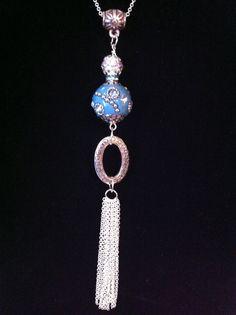 Long Tassel Necklace Silver Tassel by ClearWaterDesignsbyK on Etsy