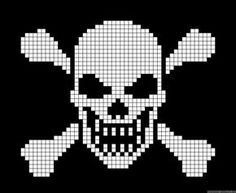 Halloween skull and bones cross stitch. Cross Stitch Skull, Cross Stitch Kits, Cross Stitch Patterns, Quilt Patterns, Crochet Skull Patterns, Bead Loom Patterns, Pixel Crochet, Crochet Chart, Cross Stitching