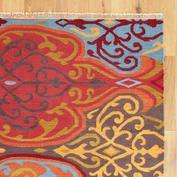 Rust and Blue Damask Flatwoven Rug