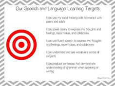Speech Therapy Learning Targets FREEBIE: Learning targets make a ton of sense. Your students should definitely know what they are working on when they come to you. If you're building is already doing 'I can' statements it's an easy carryover to the speech room.