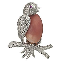 Platinum Conch Pearl and Diamond Bird Pin