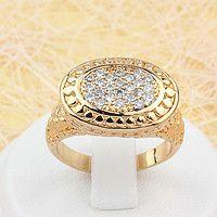 002-1590 - Позолоченный перстень с россыпью прозрачных фианитов, 17.5, 18.5…