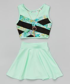 Look at this #zulilyfind! Mint Floral Color Block Crop Top Set - Girls by Just Kids #zulilyfinds