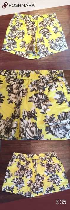 J. Crew Floral Shorts Beautiful yellow floral shorts with elastic waistband! 55% linen 45% cotton J. Crew Shorts
