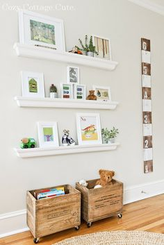 Love the window shade, the old boxes used as storage for books and stuffed animals and the small ledge shelves. Cozy.Cottage.Cute.: Little Ninja's Nursery