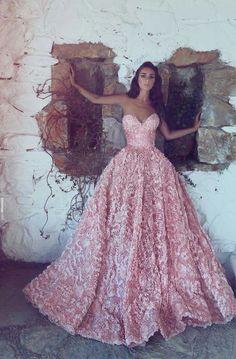Pink prom dress long sweet heart neck line balls gown