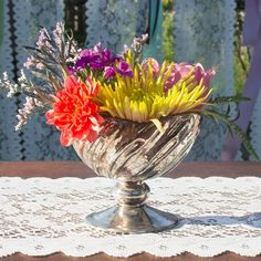 Add sparkle to your wedding or event tablescapes with our mercury glass bowl with pedestal base. This petite serving dish can also serve as a decorative candle holder by adding a little vase filler and a tea light candle or votive candle.