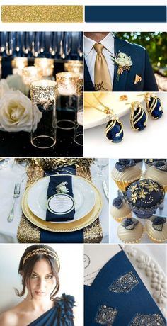 Vintage Gold Wedding Color Ideas Combined with Navy Blue #WeddingIdeasGold