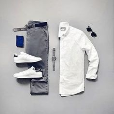 Clothes For Men Menswear Outfit Ideas Mens Casual Dress Outfits, White Shirt Outfits, Stylish Mens Outfits, Grey Pants Outfit, Stylish Boots, Casual Attire, Blazer Outfits, White Shirts, Casual Shirts
