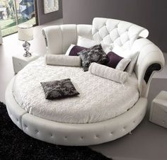 Romantica Round Bed In A Chesterfield Style Faux Leather,#bed #homeinteriors