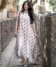 White Printed High Neck Long Kurti with Front Slits
