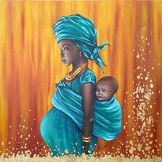 African art. This image shows the emotional and physical strength of a strong woman.