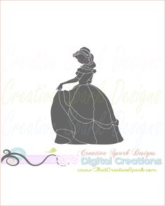 Beauty and the Beast detailed Belle silhouette SVG image for Die Cutting, scrapbook, iron-on, decal, decor, paper, printing, clip art by CreativeSparkDesigns on Etsy