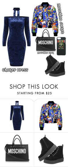 """""""Choker Dress"""" by chiara-calcagno ❤ liked on Polyvore featuring Moschino"""